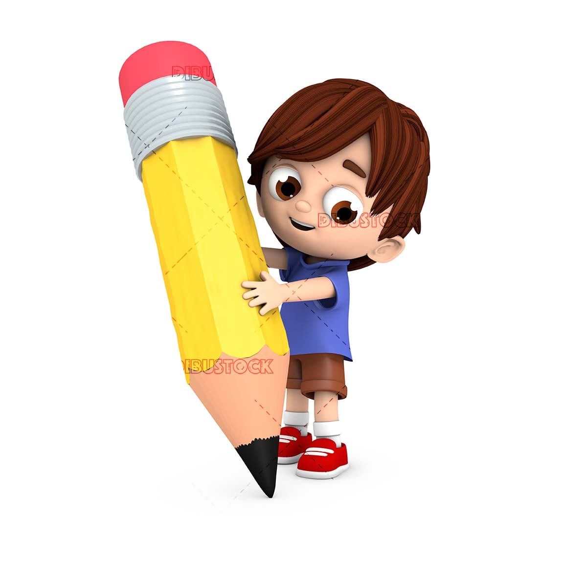 boy with giant pencil