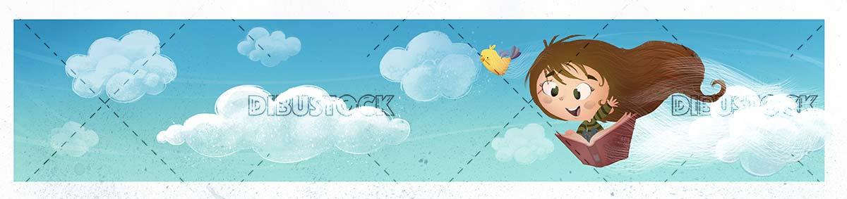 girl flying over book