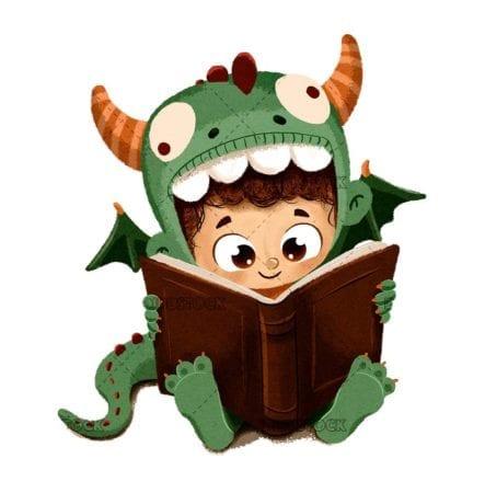 niño dragon leyendo