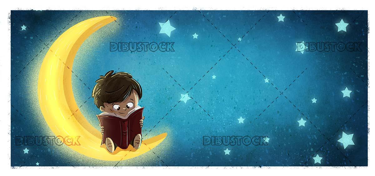 niño leyendo en la luna 10 textura