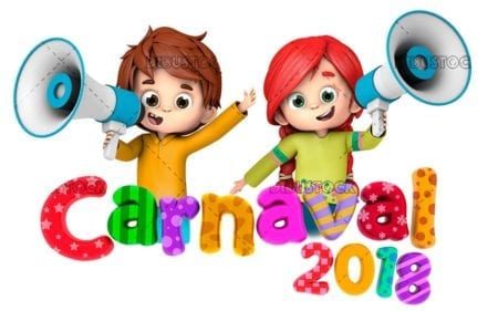 niños carnaval con megafono