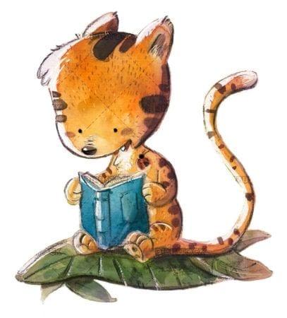 tigre leyendo acuarela