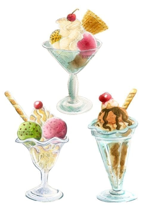 varias copas de helado