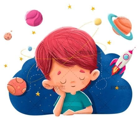 Child imagining and dreaming about planets rockets space