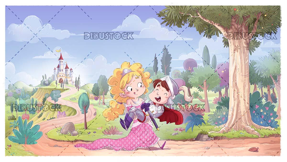 Princess saving prince with castle