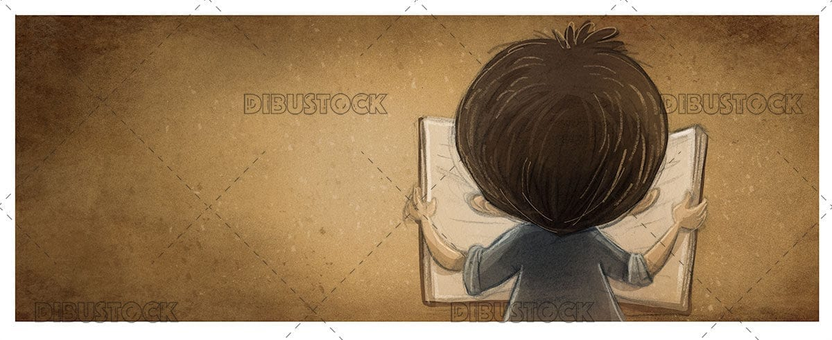 Boy reading a book seen from behind