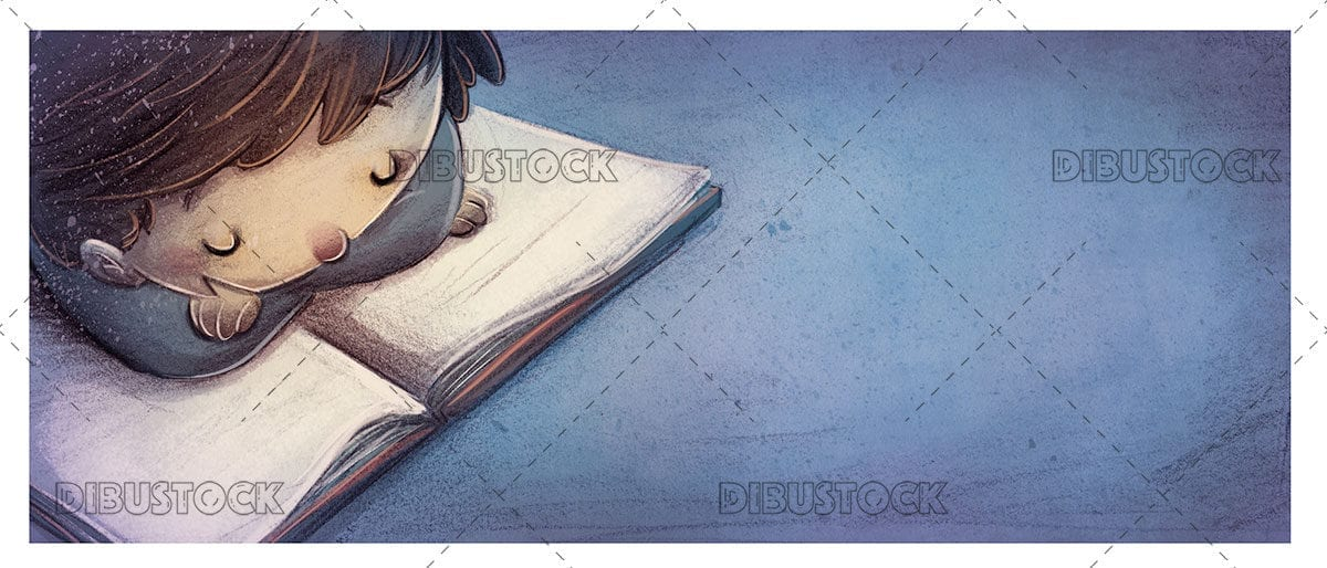 Boy reading on the floor with blue background