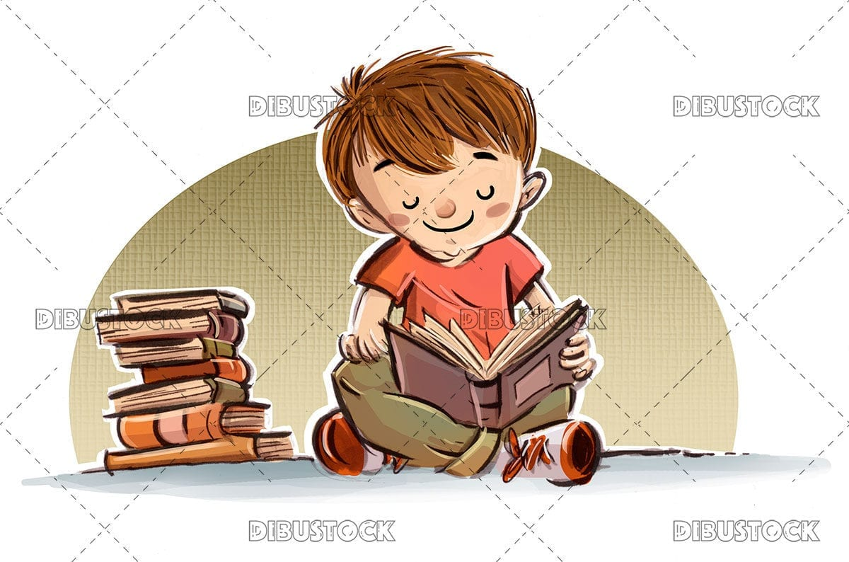 Boy sitting on the floor reading a book