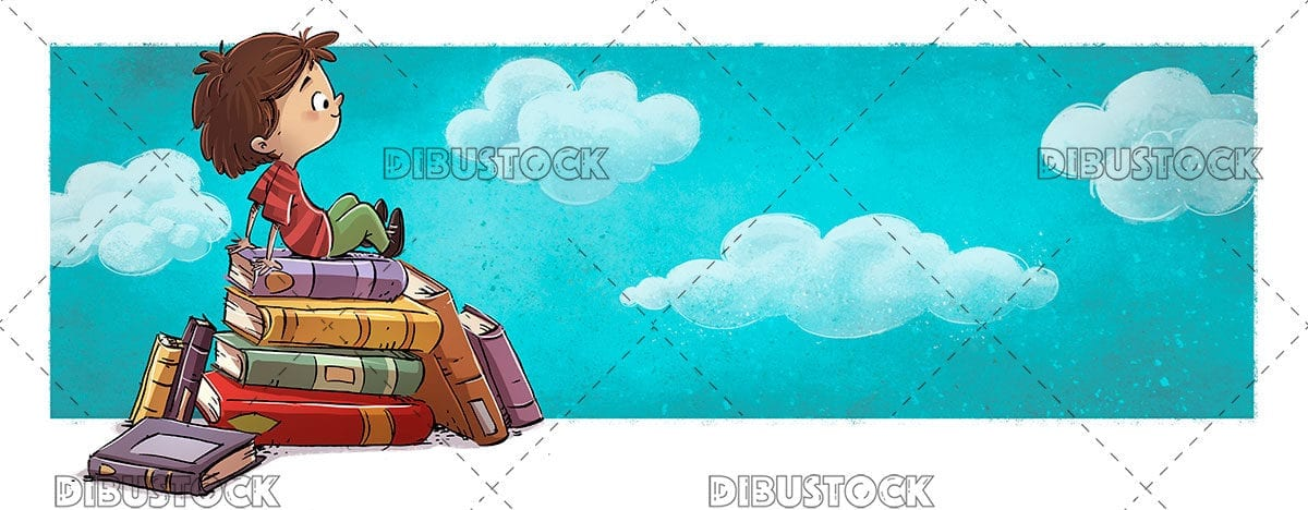 Child sitting on the open air with clouds background