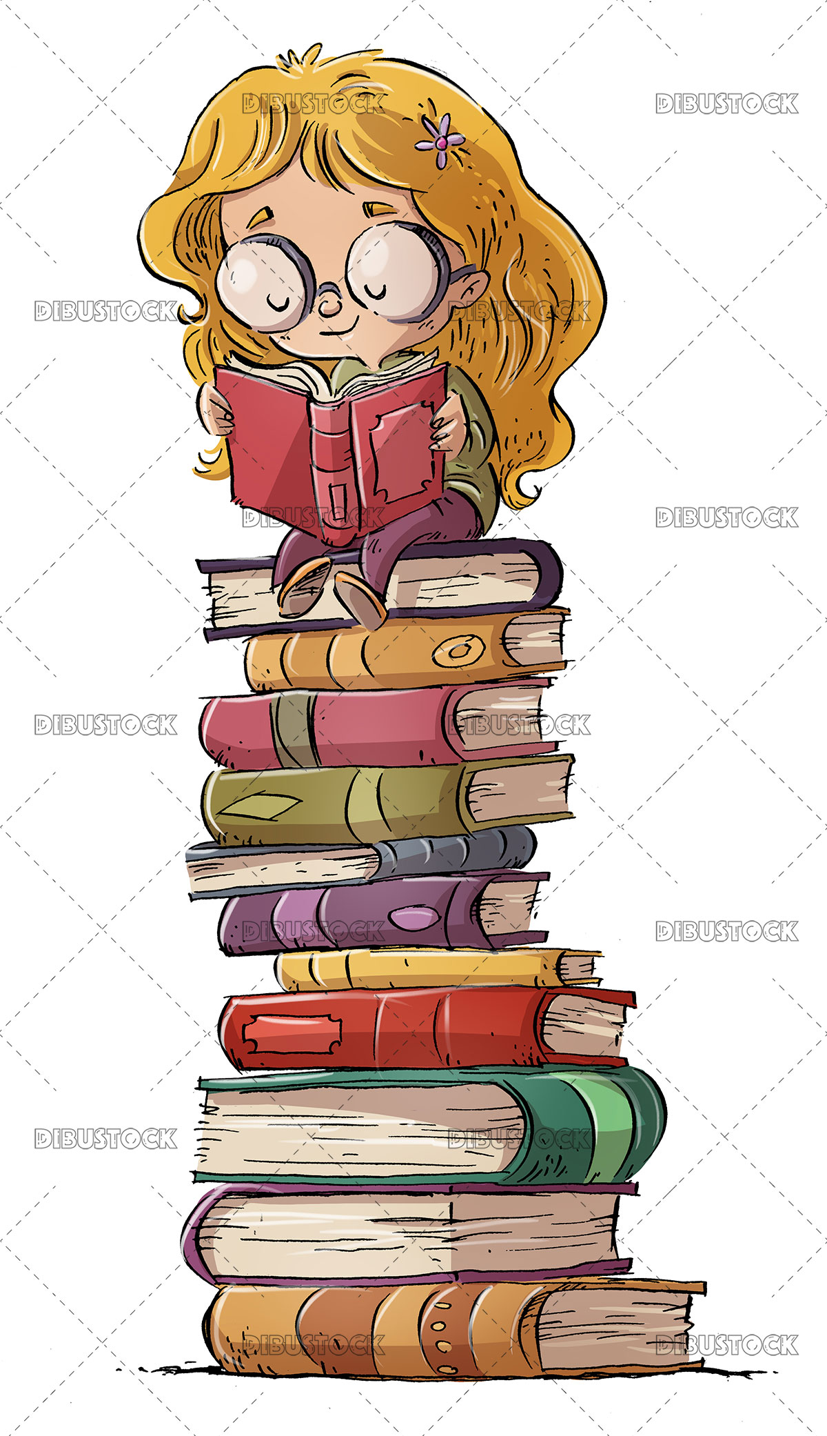 Girl reading about stacked books