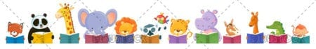 Group of animals reading with white background