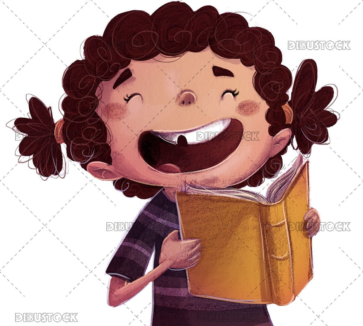 Little girl with pigtails reading while smiling