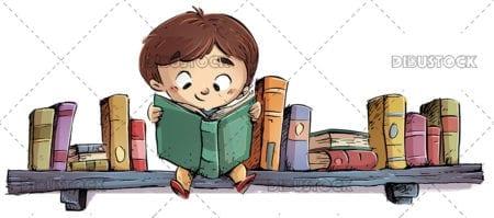 boy sitting on bookshelf 1