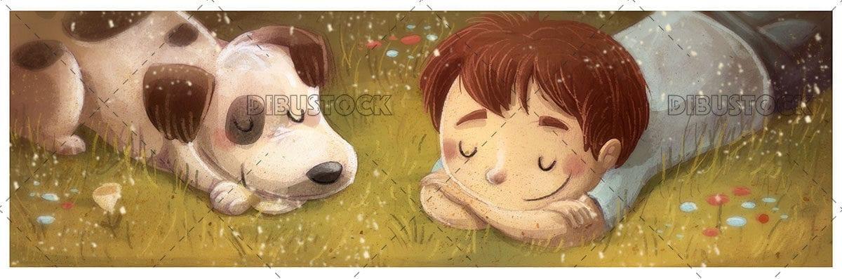 boy with a sleeping dog lying on the ground