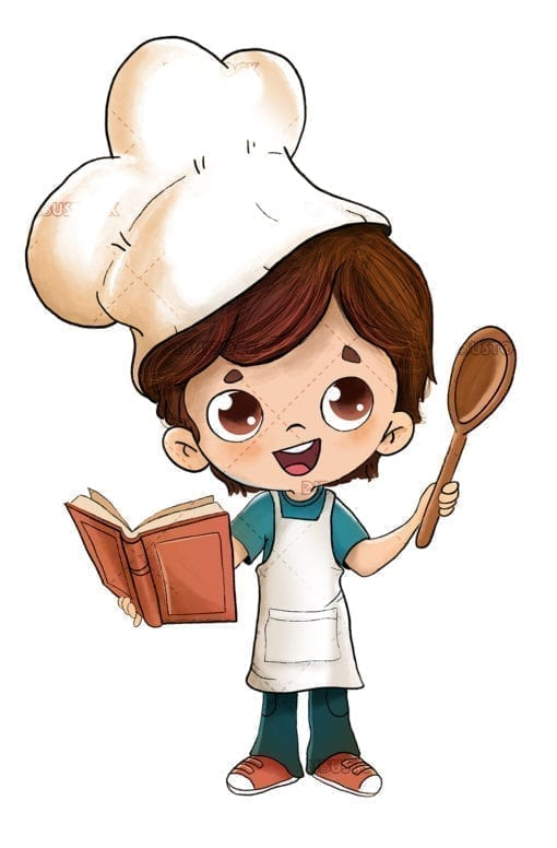Boy cooking with a recipe book
