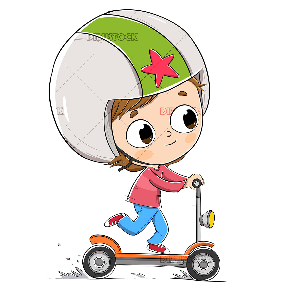 Boy driving an electric scooter with a helmet