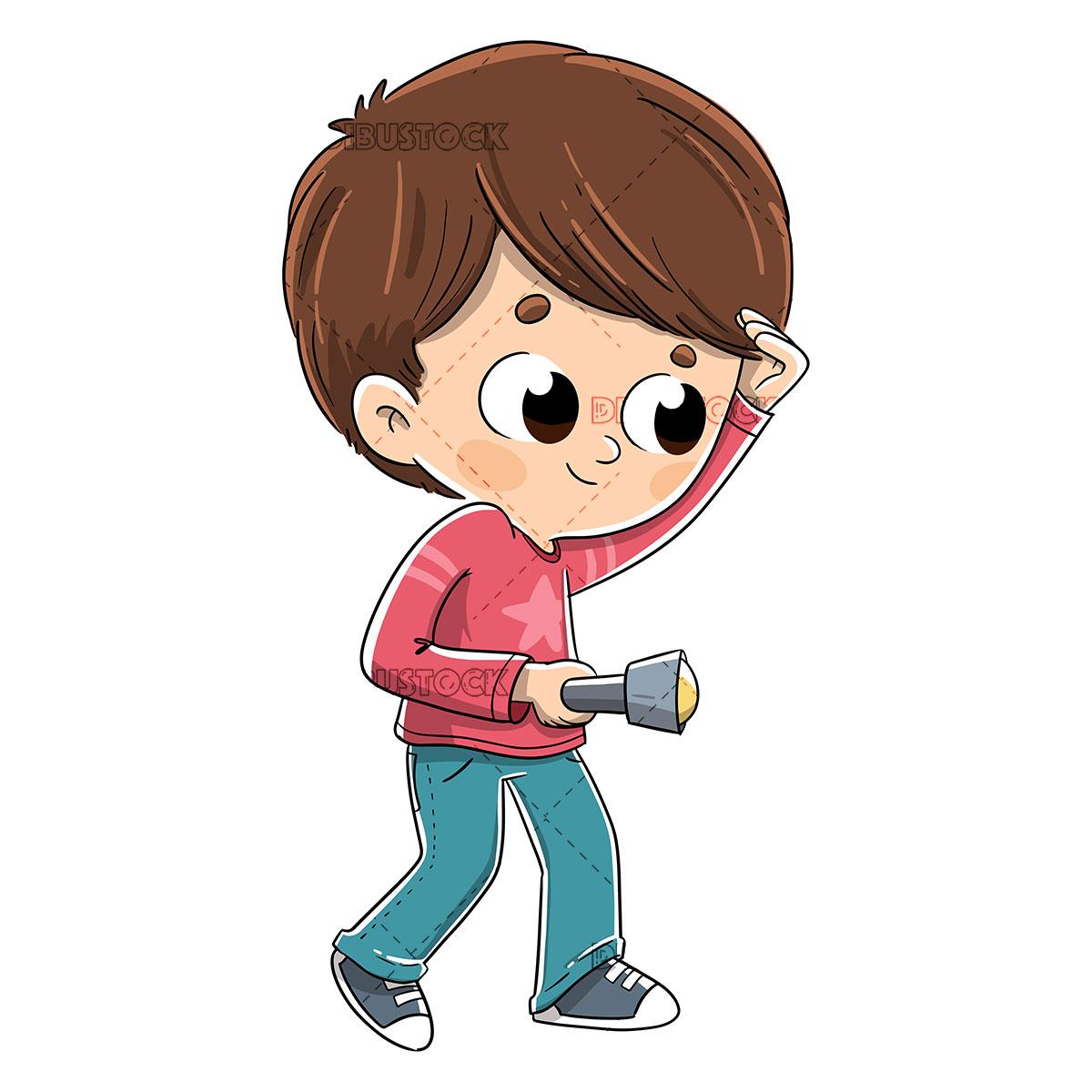 Boy looking with a flashlight