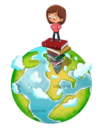 Boy on heap of book with planet Earth