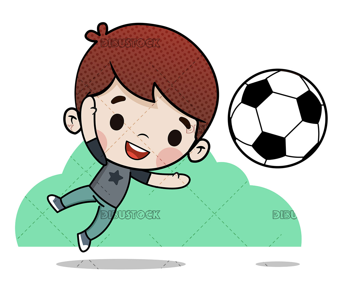Boy playing soccer stopping a goal
