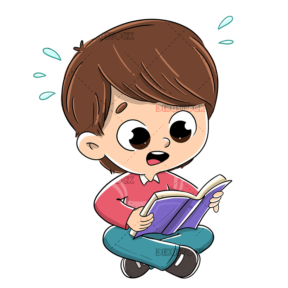 Boy reading a book surprised