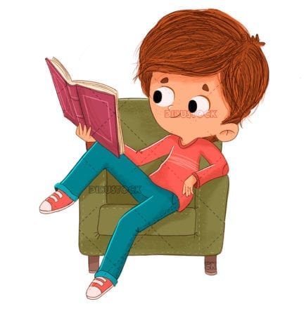 Boy reading on the couch