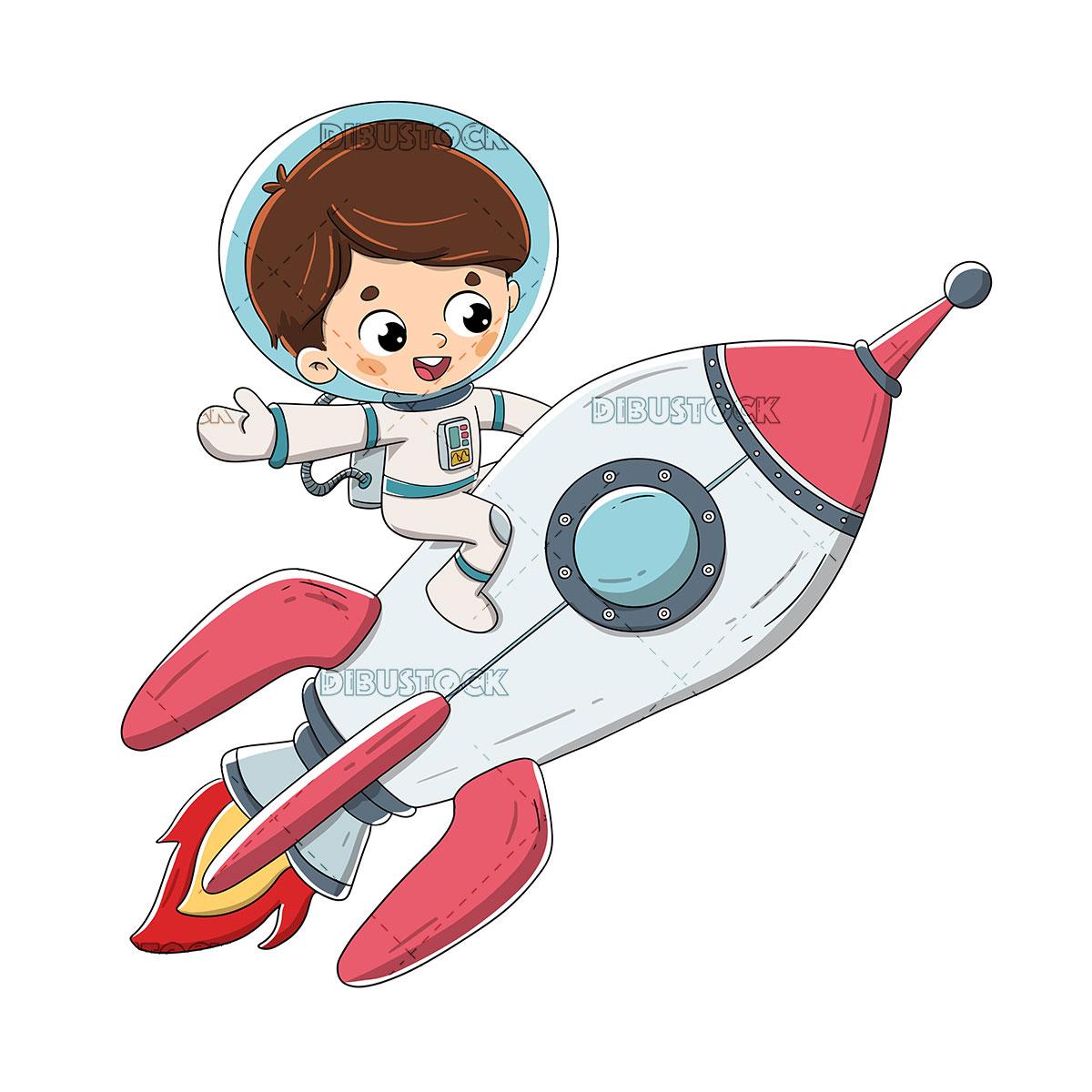 Boy sitting on a rocket flying through space
