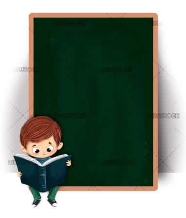 Boy sitting reading in class with a blackboard behind