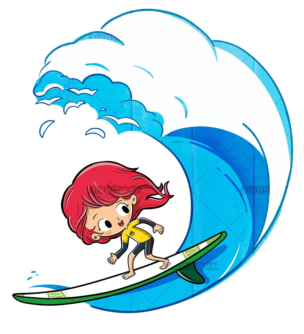 Boy surfing on a wave