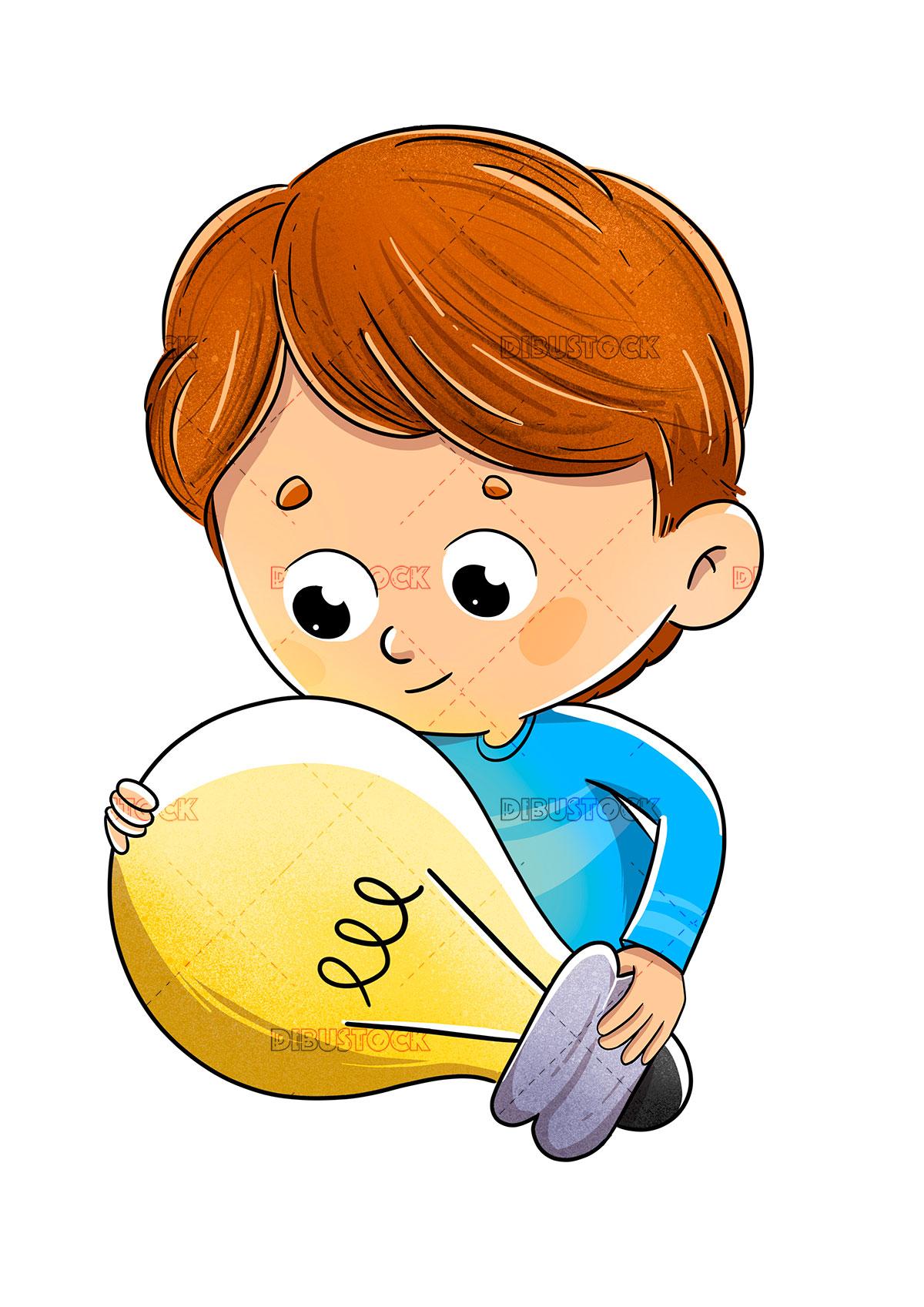 Boy with a light bulb who has had an idea