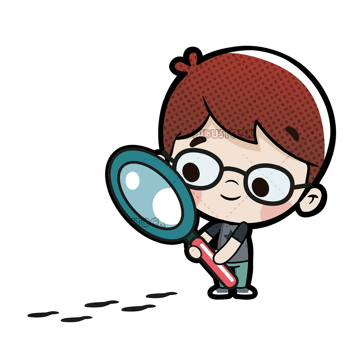 Boy with a magnifying glass following some footprints