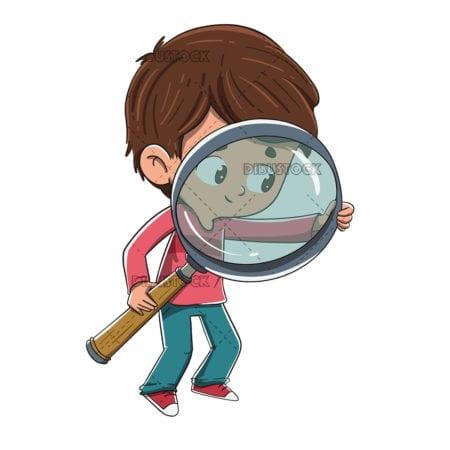 Boy with a magnifying glass looking for something
