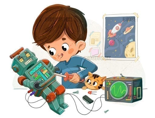 Boy with a robot and his pet