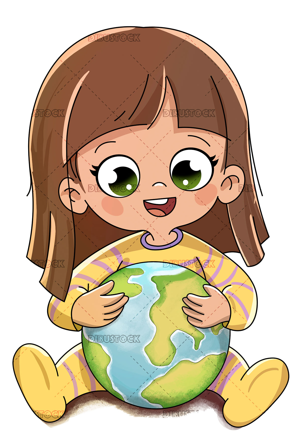 Boy with planet Earth