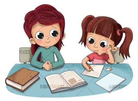 Child doing homework with his mother or sister