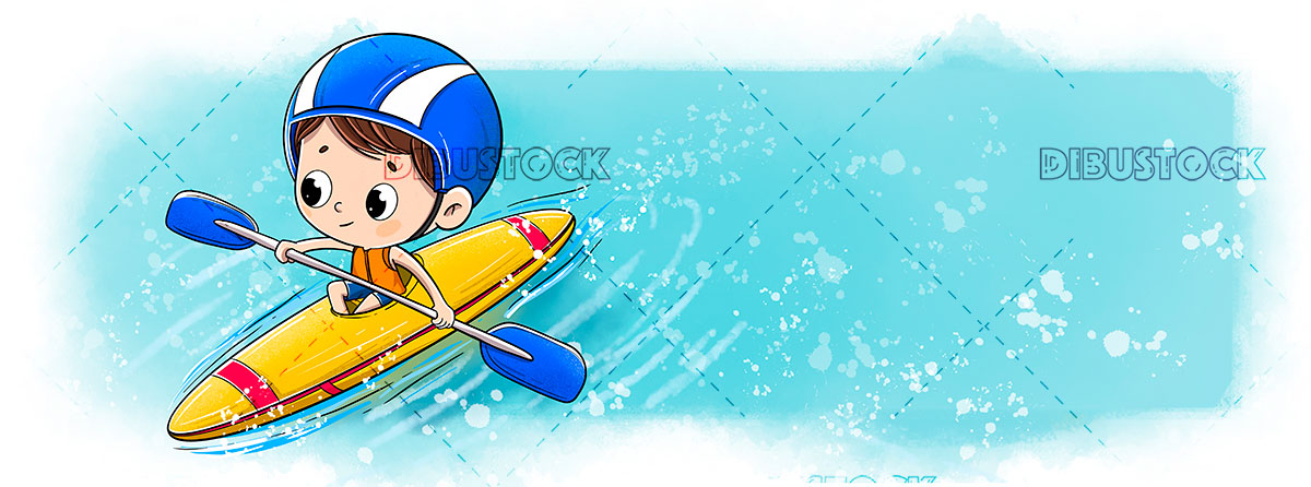 Child in a canoe or Kayak doing sport in the sea or river