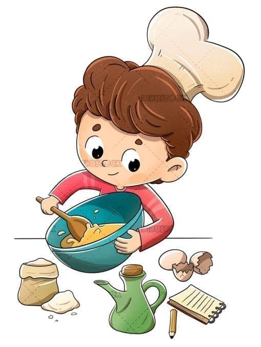 Child in the kitchen preparing a recipe