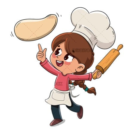 Child makes a pizza or cooks