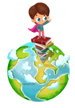 Child on a pile of books on planet Earth