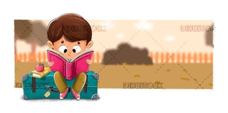 Child reading sitting in a suitcase in the park
