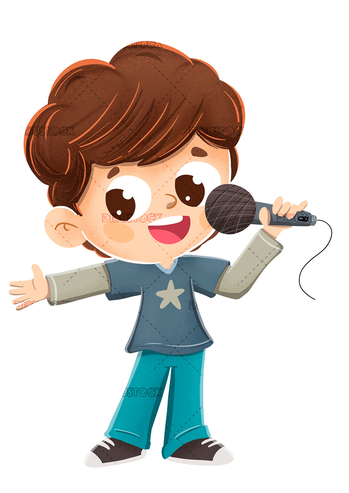 Child singing with a microphone or making a presenting