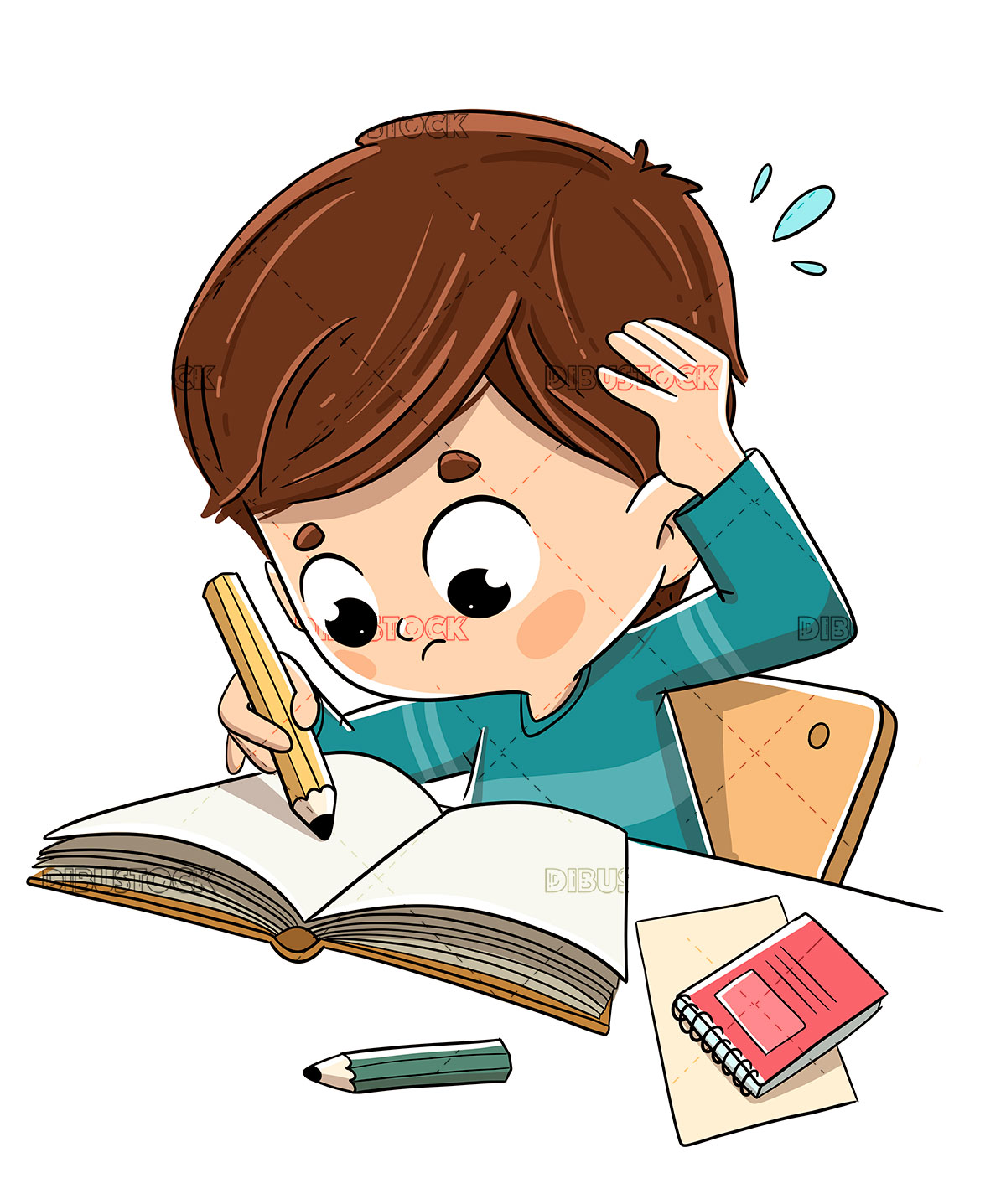 Child studying with stress and worried