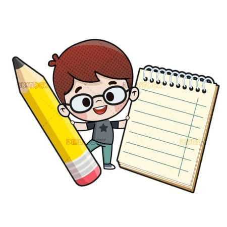 Child with a pencil and a notebook