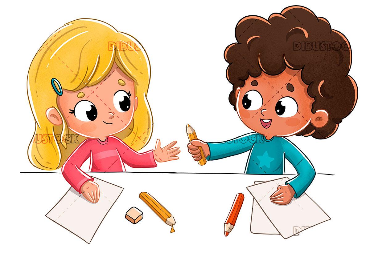 Children at school lending a pencil
