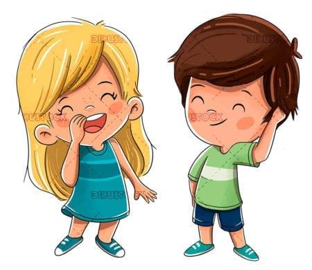 Children friends smiling happy