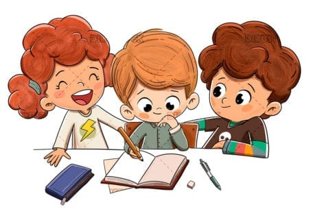 Children in class doing homework