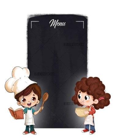 Children in the kitchen preparing food