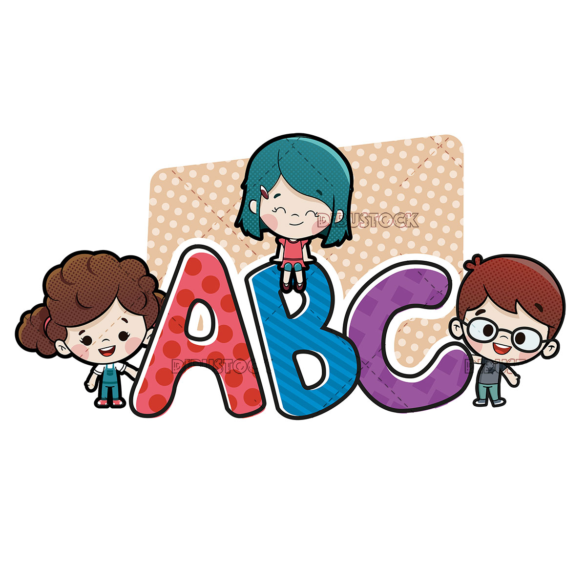 Children with ABC letters