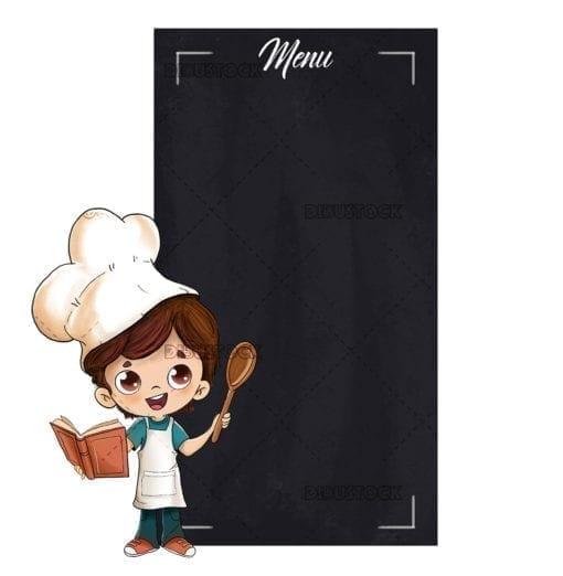 Cook boy showing a blackboard