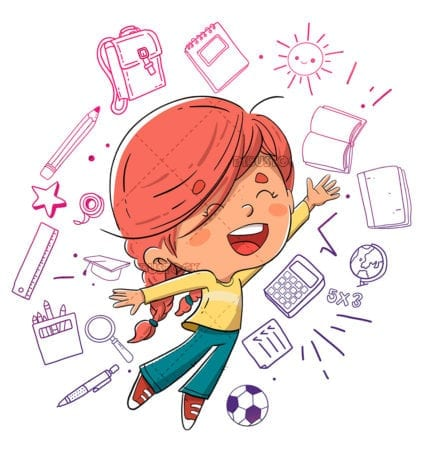 Girl jumping with education concepts