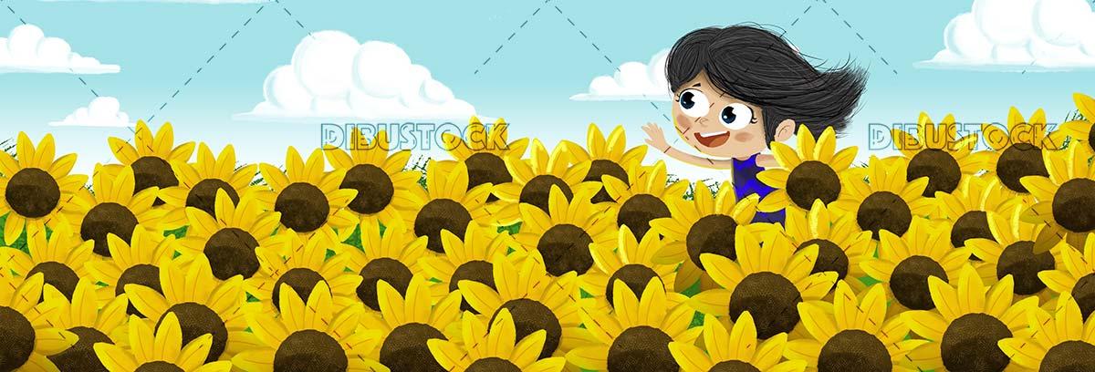 Girl running among sunflowers